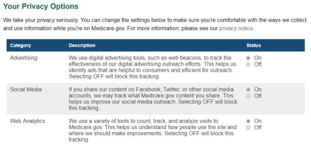 Your Privacy Options screengrab